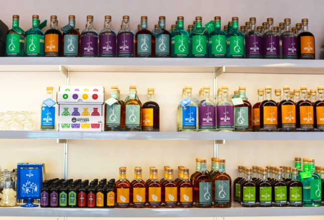 Wigle's product line on display at the North Side Barrelhouse.