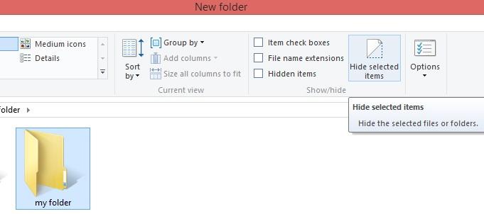 hide a folder in windows8