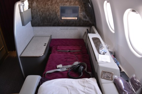 Qatar Airways First Class - Bed from behind