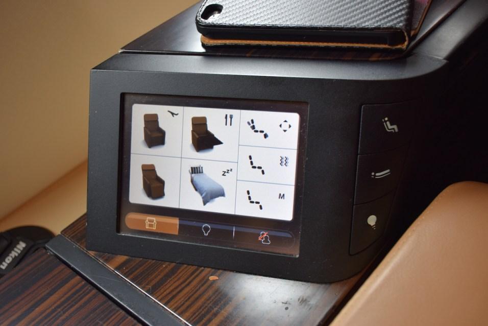 Etihad Airways Diamond First Class touch remote screen