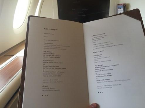 Thai Airways A380 Royal First Class - Lunch and breakfast menu