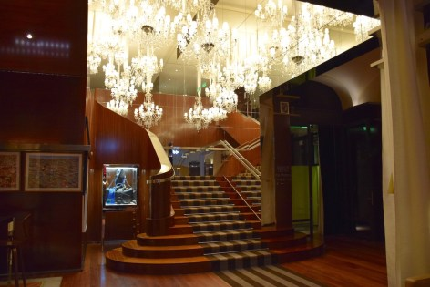 Lobby stairs with chandeliers