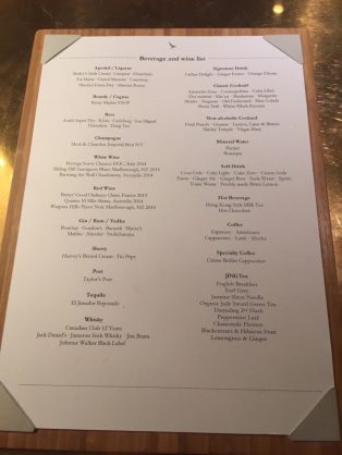 Bar beverages list