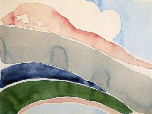 GEORGIA O'KEEFFE PINK AND GREEN MOUNTAINS, NO. II
