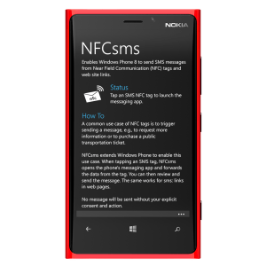 NFCsms on the Nokia Lumia 920