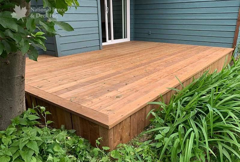Cozy brown pressure treated deck
