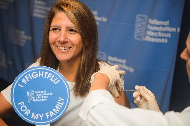 Marla Dalton getting vaccinated