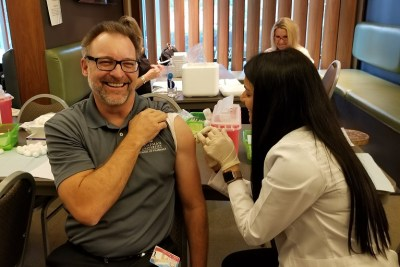 Jeffrey A. Goad getting vaccinated