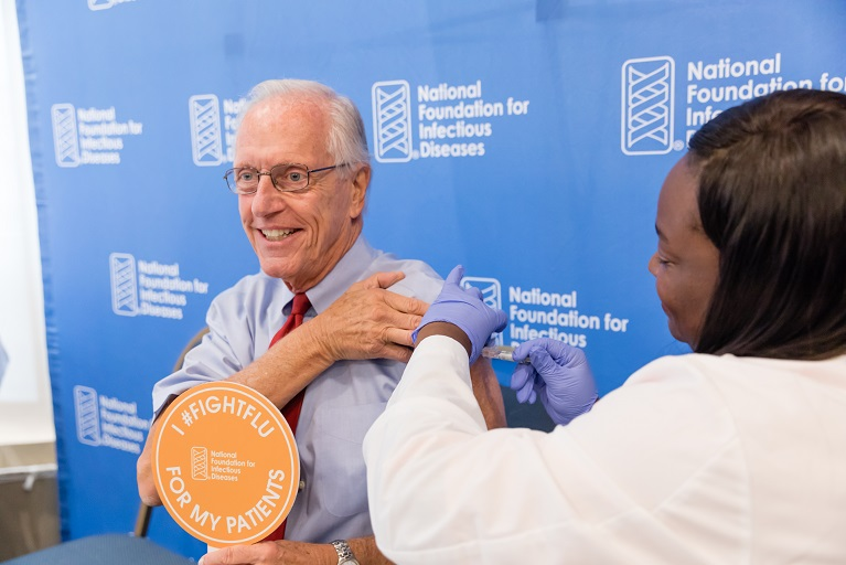 William Schaffner getting vaccinated