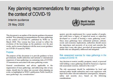Key Planning Recommendations for Mass Gatherings in the Context of the Current COVID-19 Outbreak