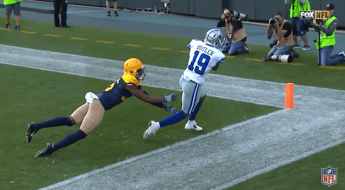 Hermosa conexión Prescott - Brice Butler para el 17-6 momentáneo de los Packers - Foto: Captura Youtube NFL