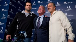 Colts owner Jim Irsay, centre, head coach Chuck Pagano, right and general manager Ryan Grigson Pic: Sportsnet.ca