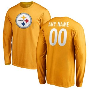 Men's Pittsburgh Steelers NFL Pro Line Gold Personalized Name & Number Logo Long Sleeve T-Shirt