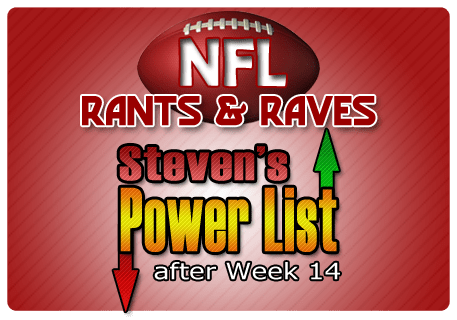 Steven's NFL Power List after Week 14