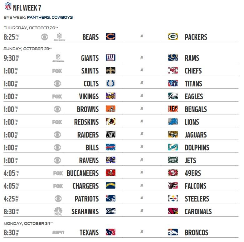 Image result for 2016 NFL Week 7