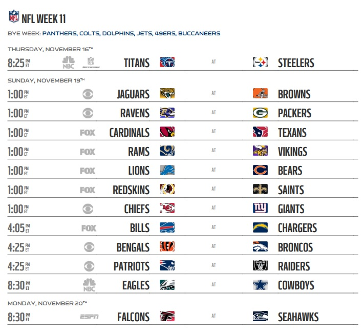 Image result for 2017 nfl week 11 schedule updated