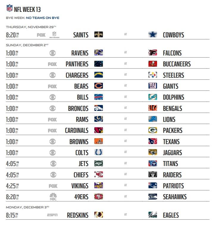 Image result for 2018 NFL Week 13