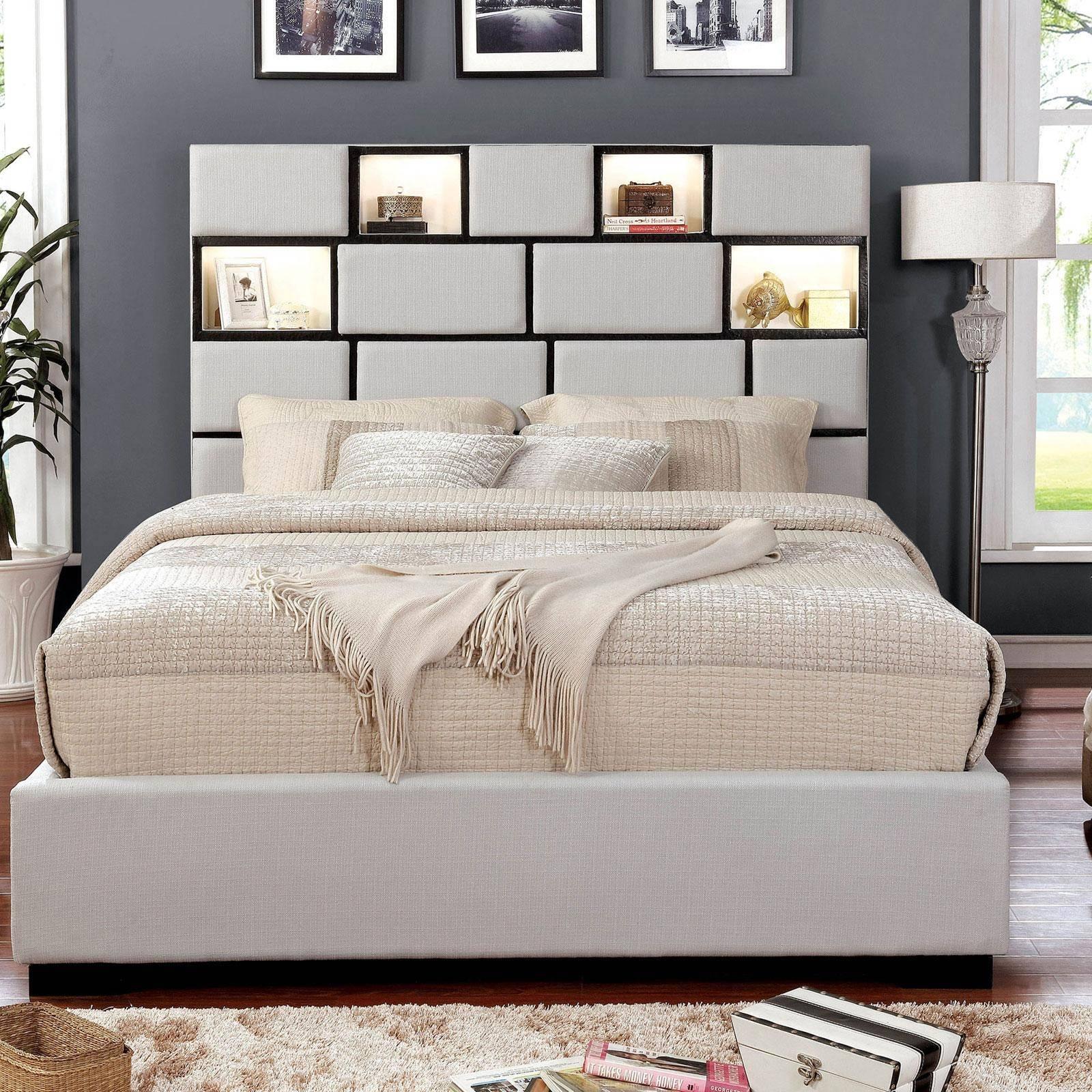 furniture of america gemma california king platform bed in beige fabric