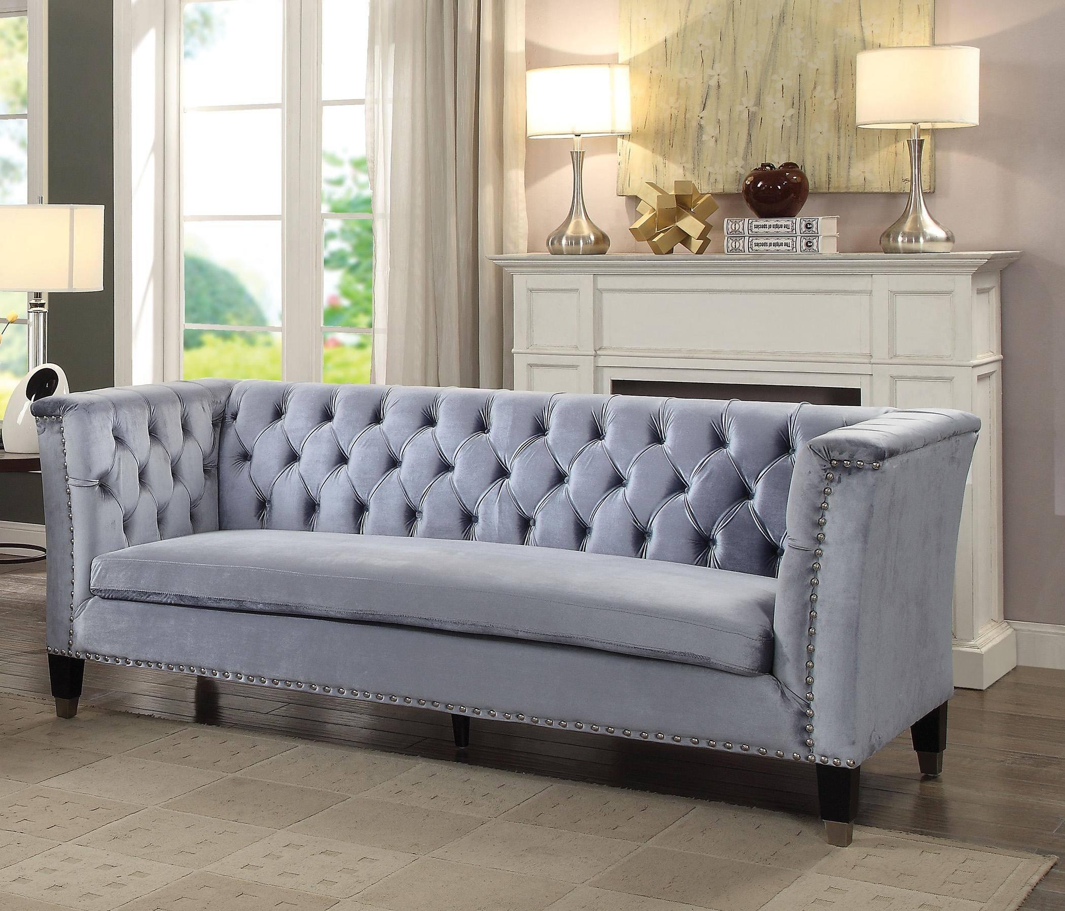 Buy Acme Honor 52785 Sofa In Cobalt Blue Velvet Online