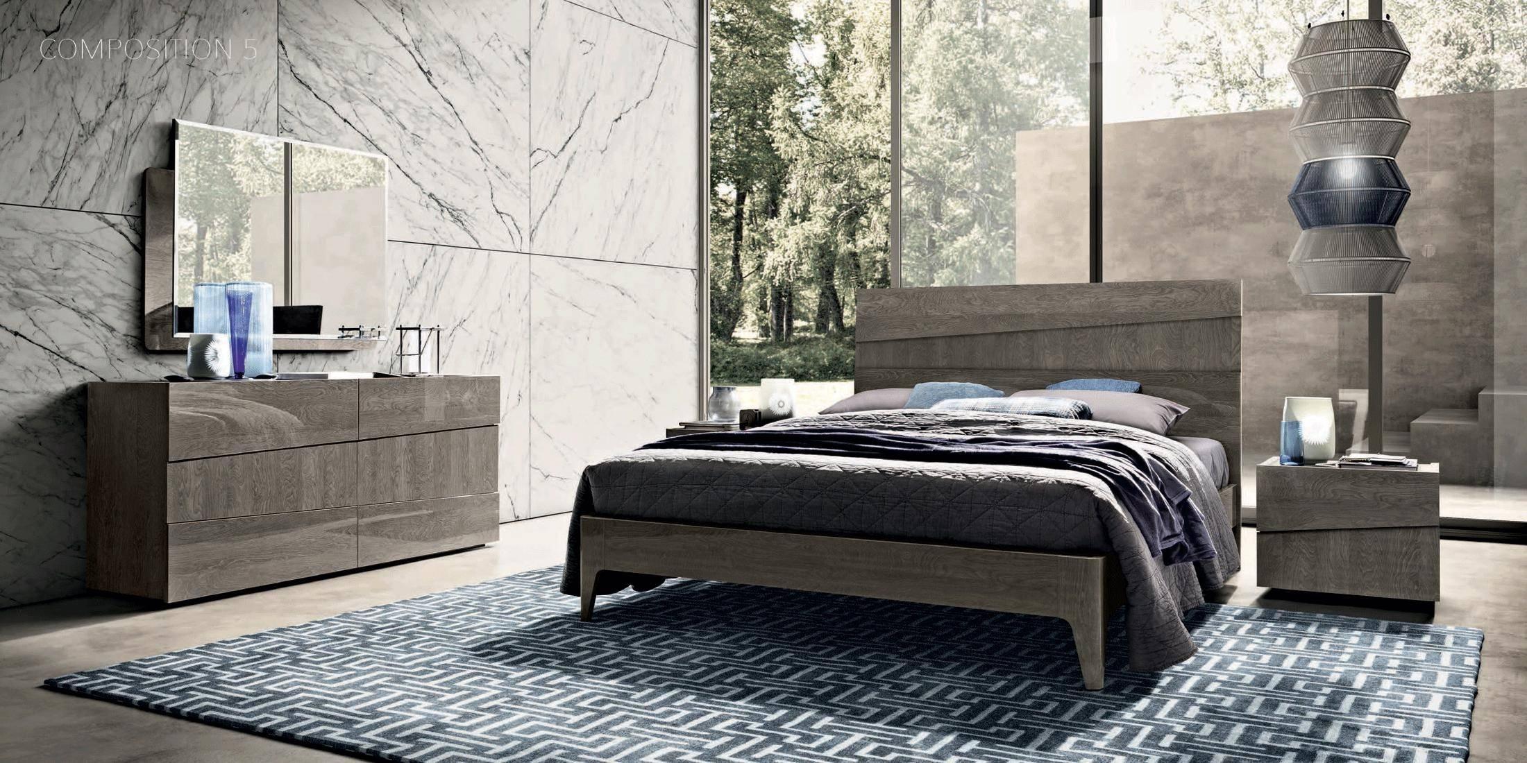 esf tekno king platform bedroom set 5 pcs in gray wood fabric veneers