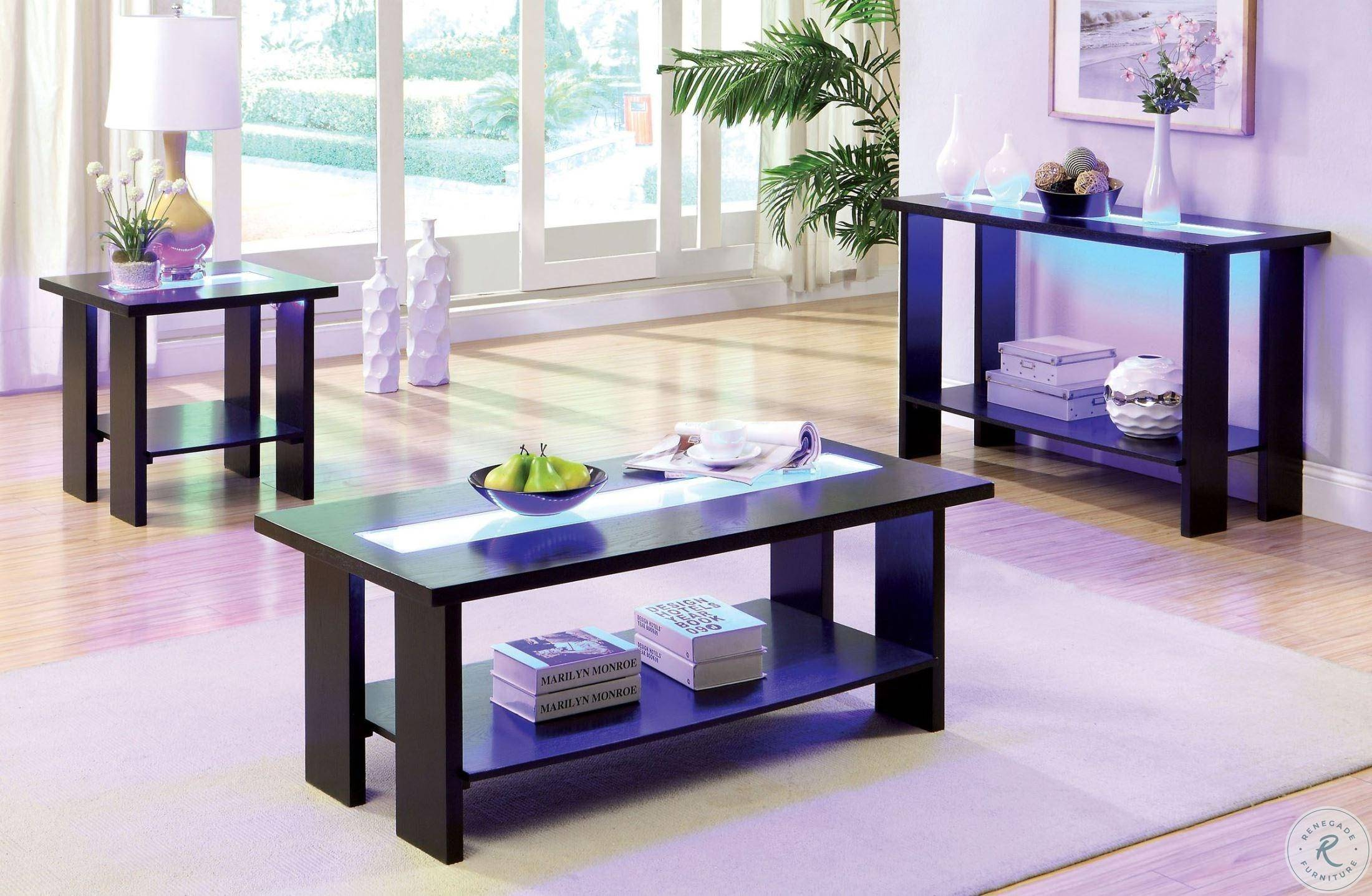 furniture of america luminar ii coffee table end table console table 3 pcs in espresso glass