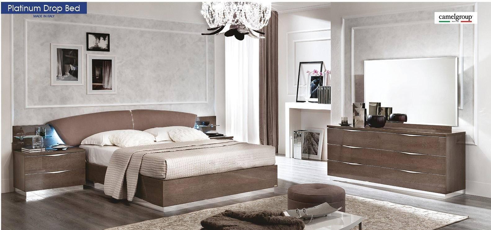 esf platinum drop king platform bedroom set 5 pcs in silver walnut eco leather