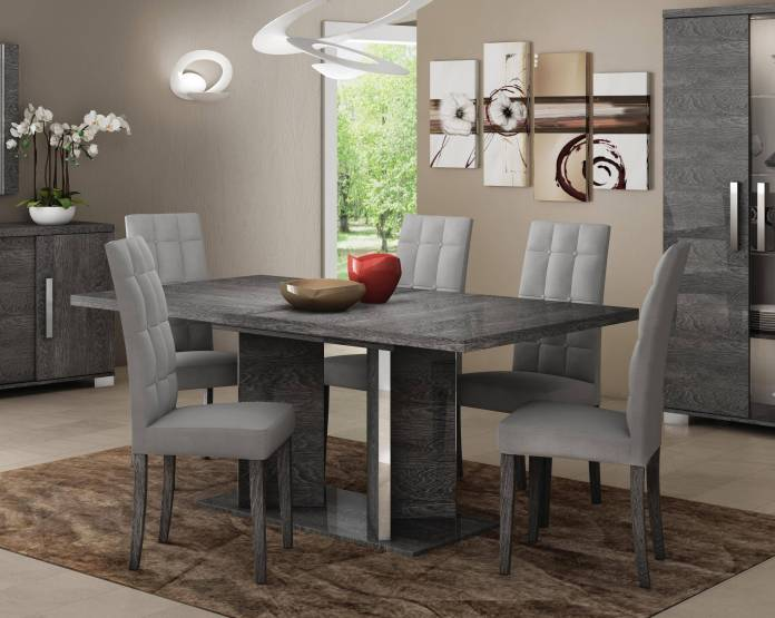 Buy At Home Sarah Dining Side Chair 4 Pcs In Gray Microfiber Online