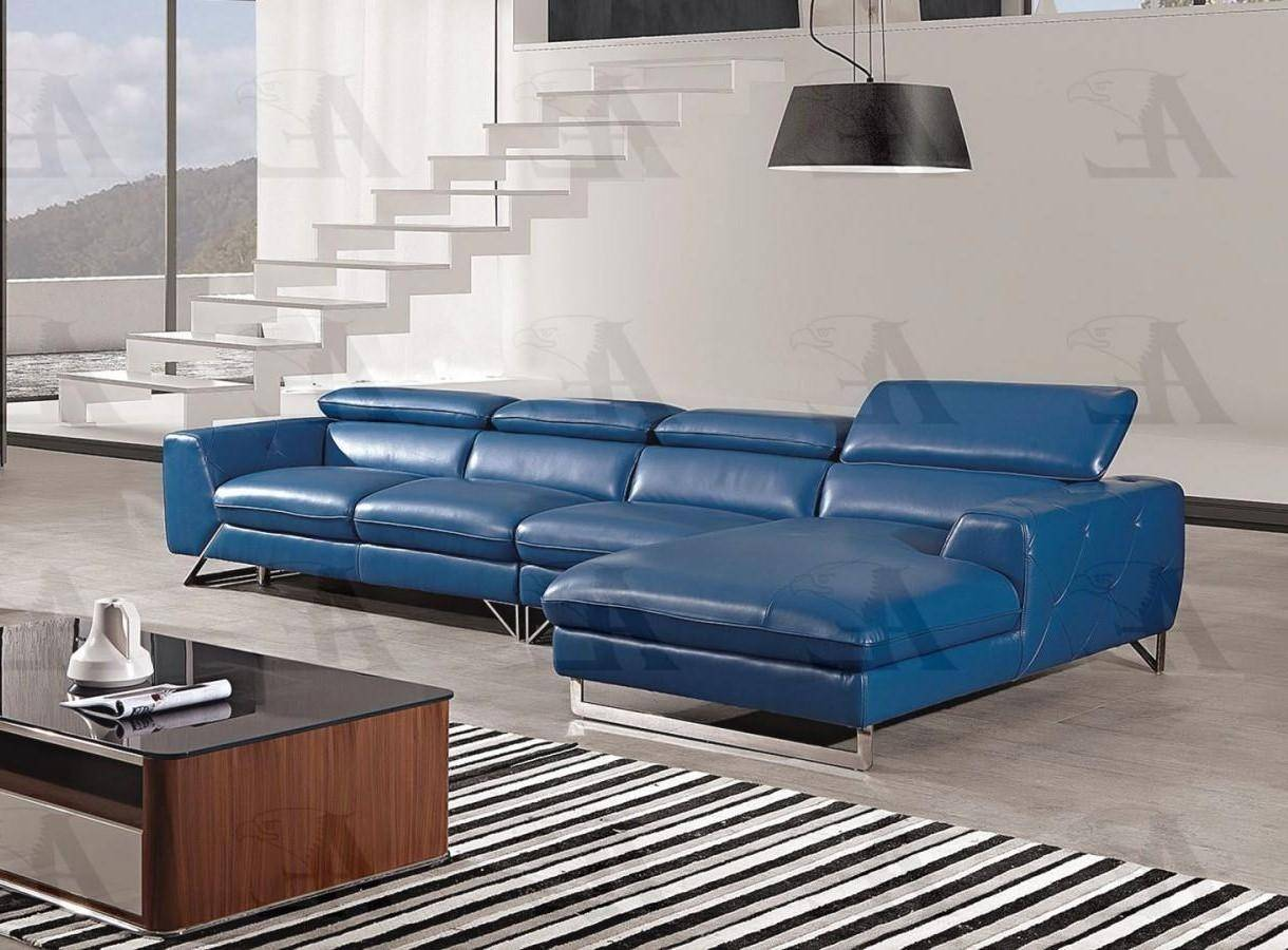 american eagle ek l030 blue sectional sofa 3 pcs right hand chase in blue full leather