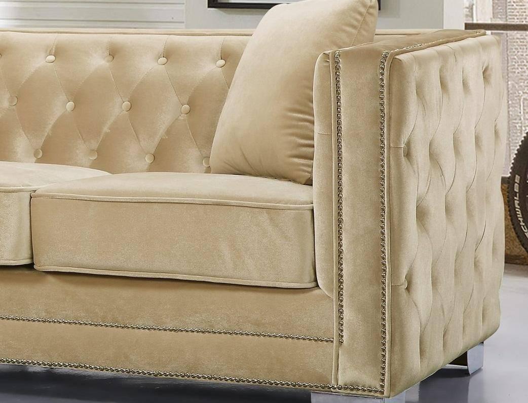 Buy Meridian Reese Sofa Loveseat And Chair Set 3 Pcs In Beige Velvet Online