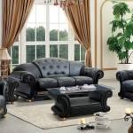 Buy Soflex V Cleopatra Sofa Loveseat Chair 3 Pcs In Black Leather Online