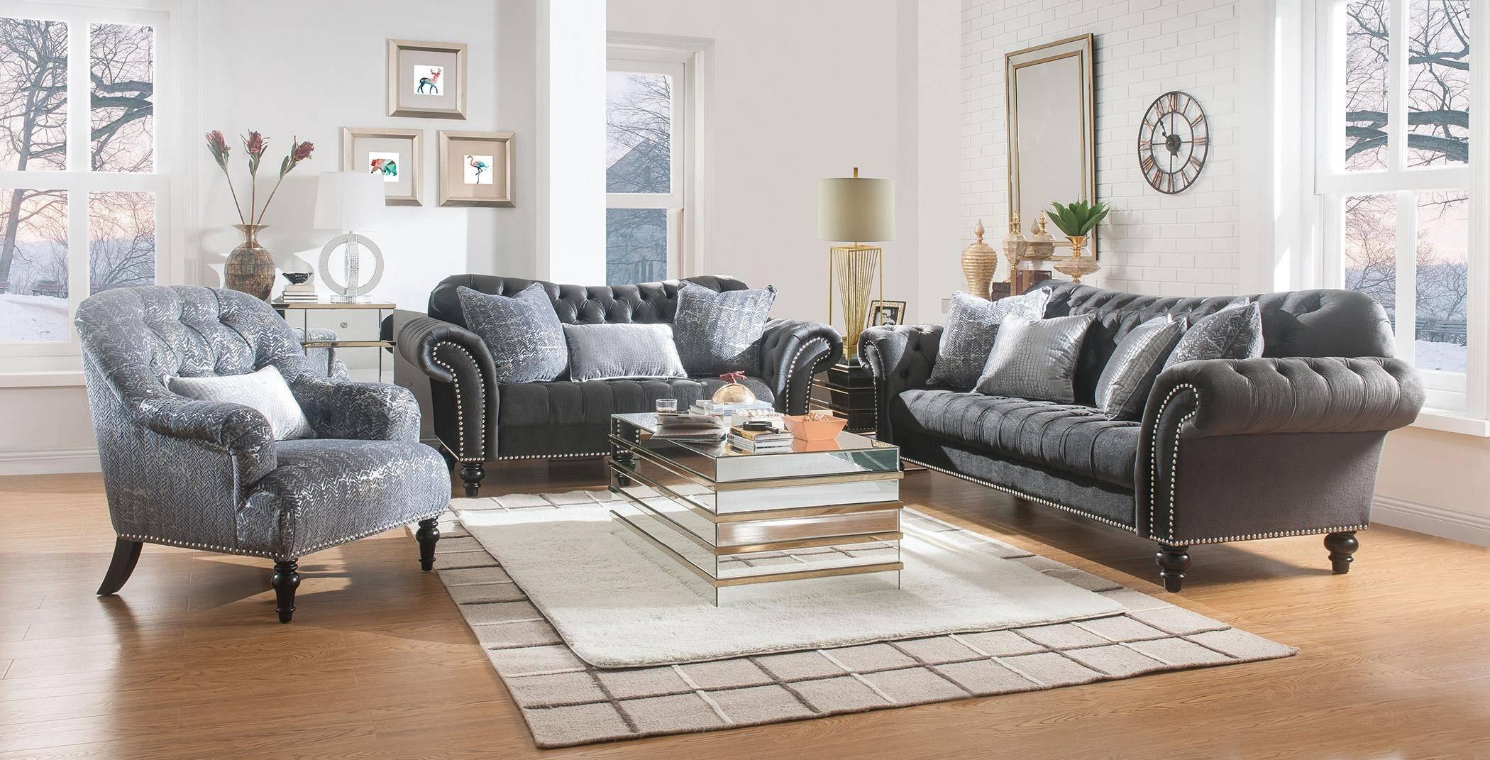 acme gaura sofa in dark gray fabric