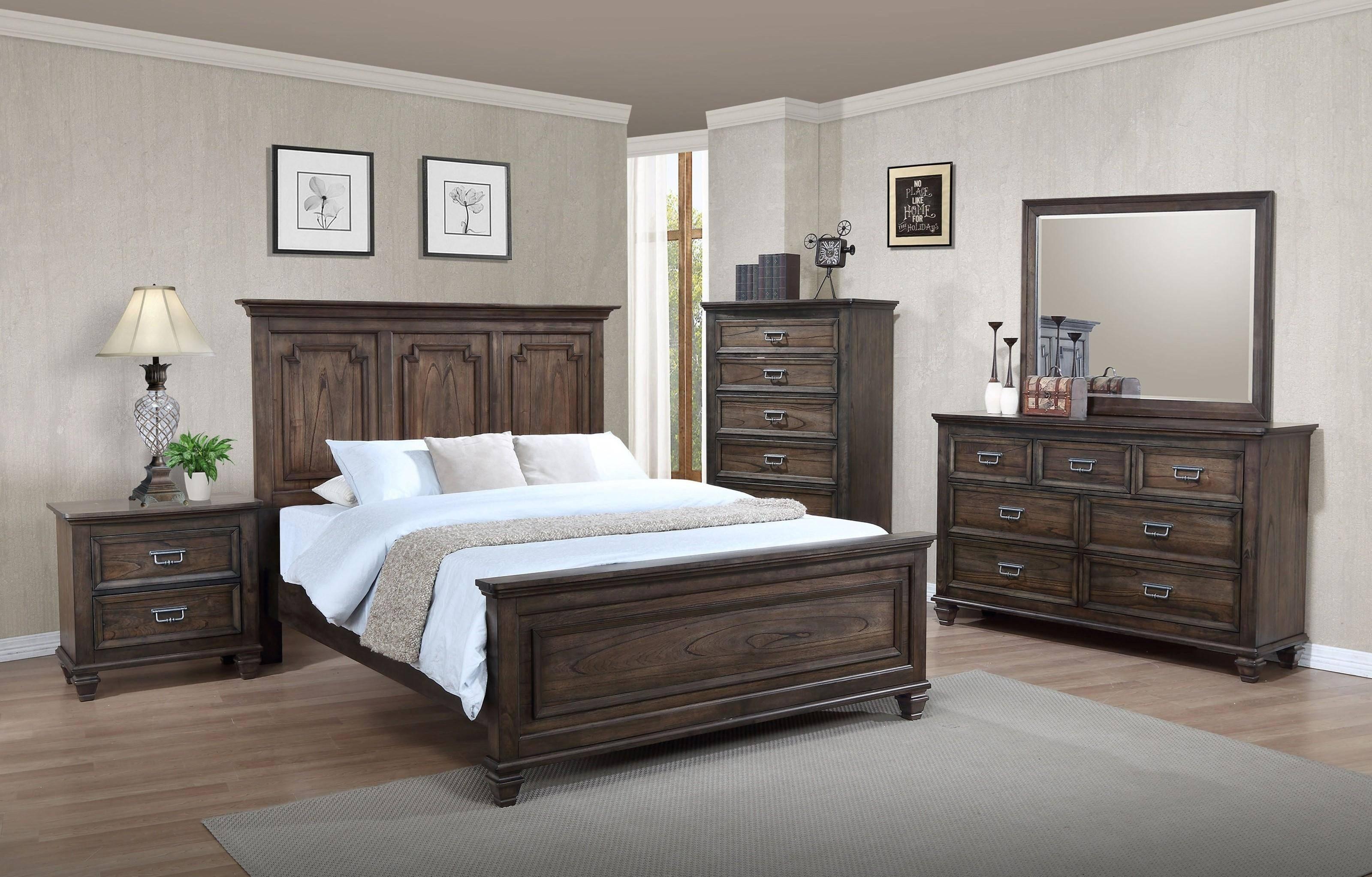 crown mark b8250 campbell king panel bedroom set 5 pcs in brown gray wood solids and veneer