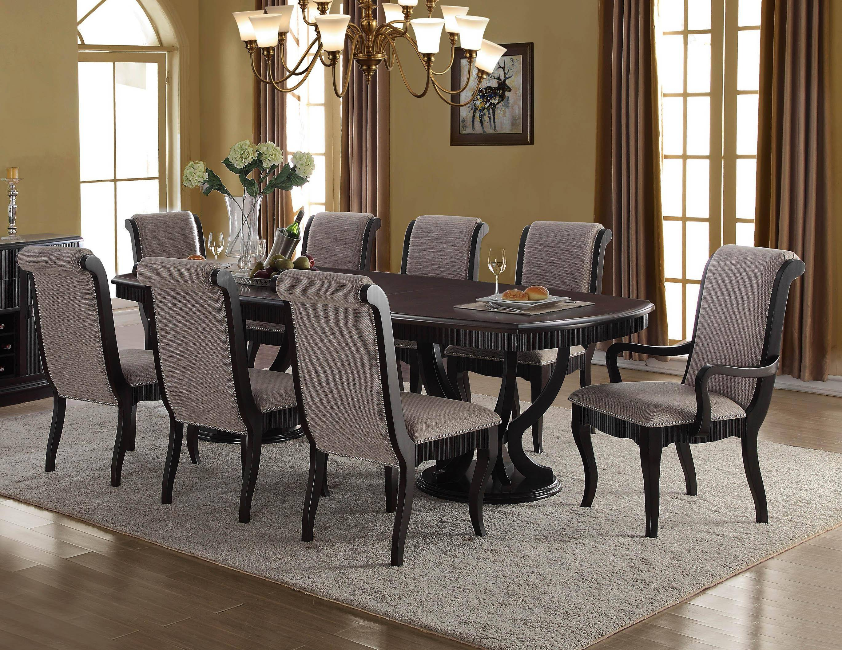 Buy Mcferran D1600 Dining Table Set 8 Pcs In Black Gray Fabric Online