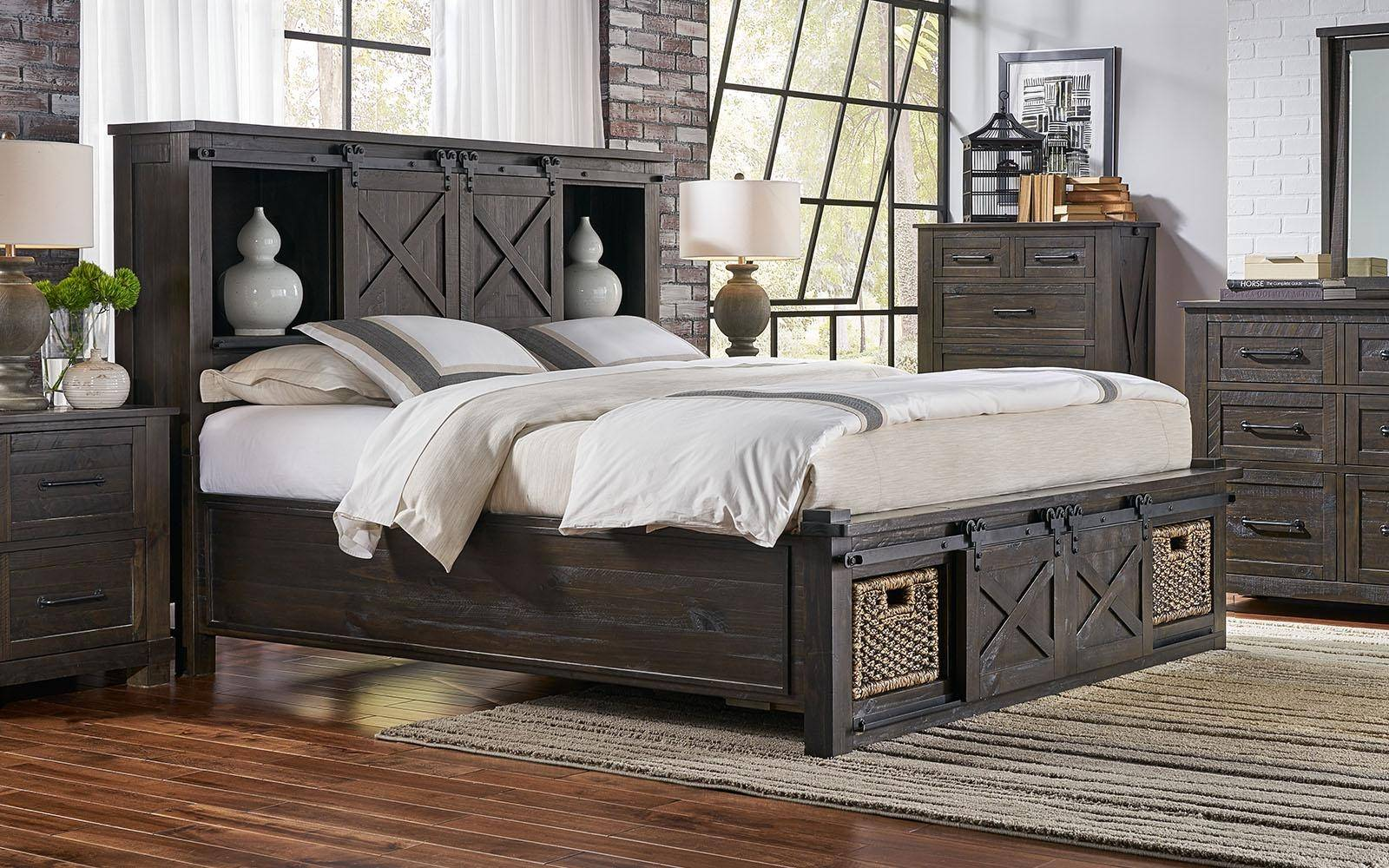 a america sun valley king storage bedroom set 6 pcs in black charcoal wood