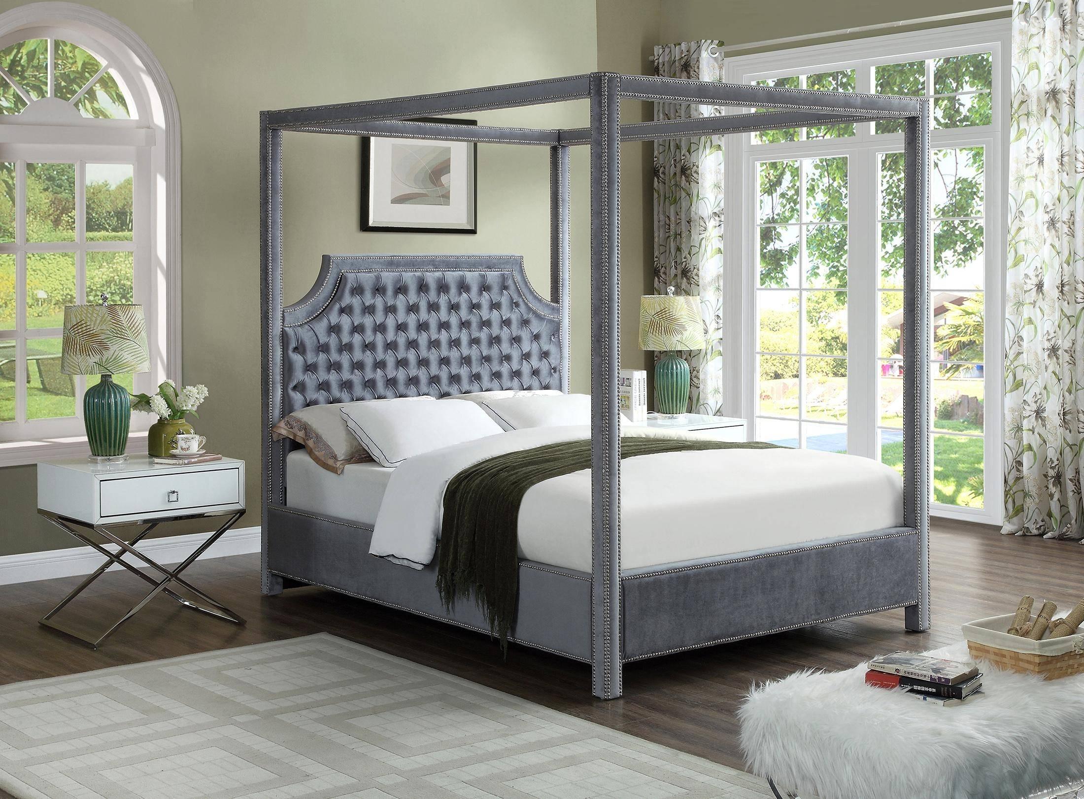 Buy Meridian Rowan Lynn Queen Canopy Bedroom Set 3 Pcs In Gray Velvet Online