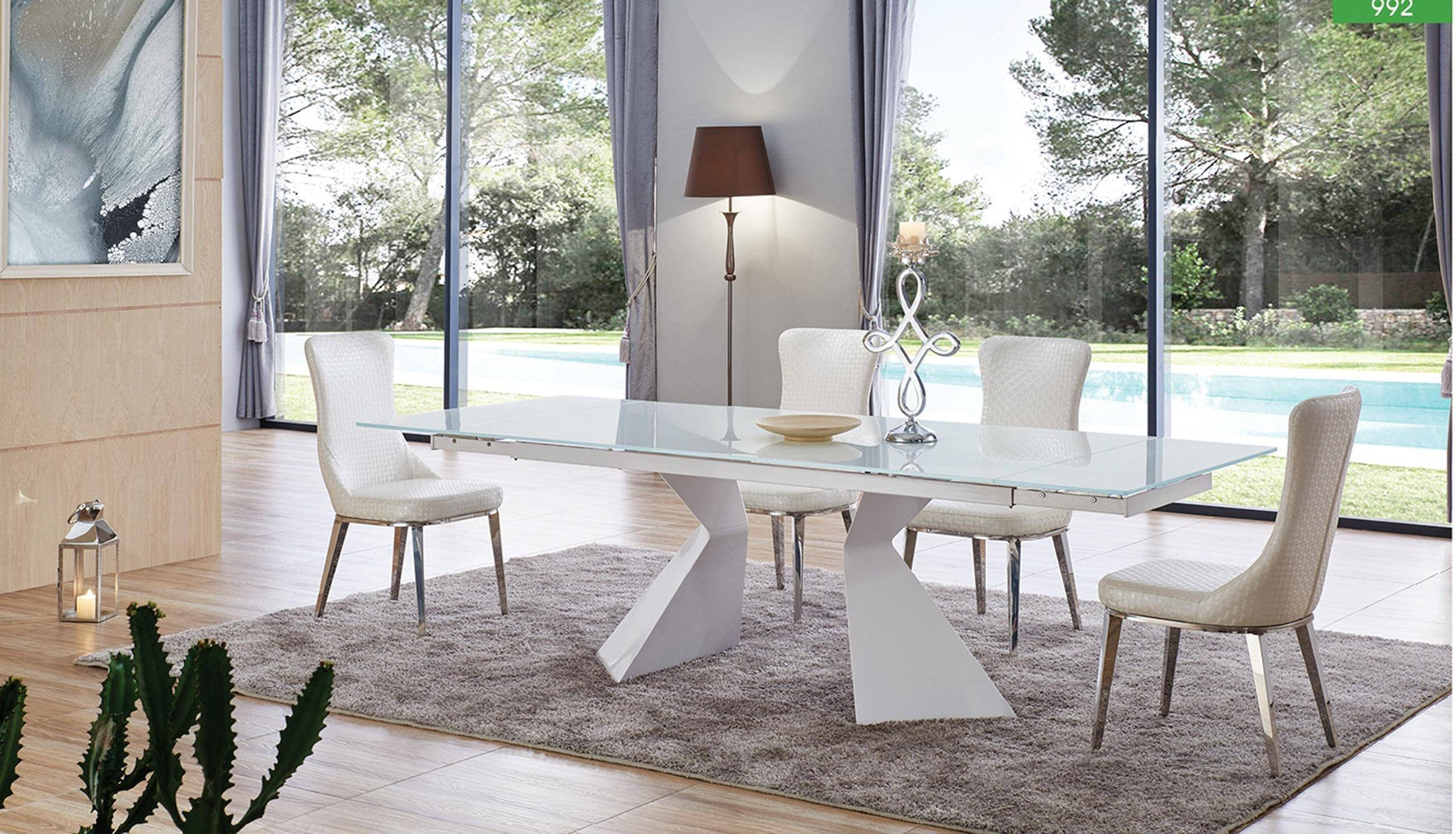 Buy Esf 992 Dining Sets 7 Pcs In White Eco Leather Online
