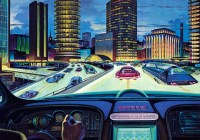 Vintage illustration of an 'electronic car of tomorrow' driving on a city highway, with electronic display and guidance, 1950s. Screen print. (Illustration by GraphicaArtis/Getty Images)