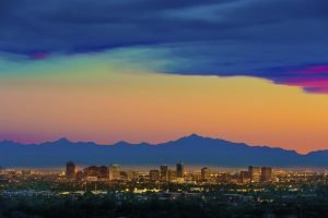 home care phoenix, az skyline at dusk with colorful sky