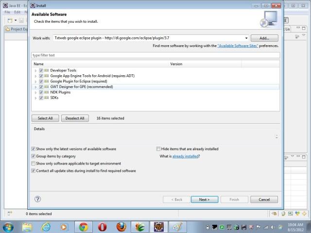 Installing Google Plugin in Eclipse
