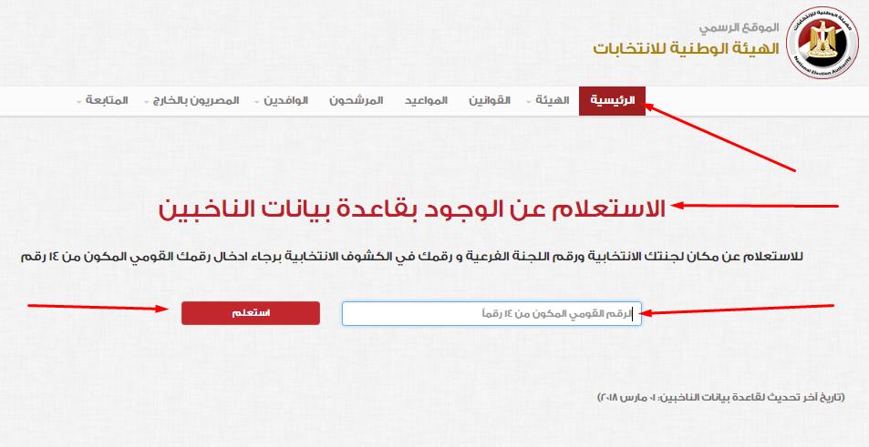 أعرف لجنه الانتخابات بالرقم القومي داخل مصر مقر انتخابات