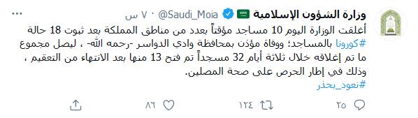 السعودية تقوم بإغلاق المساجد