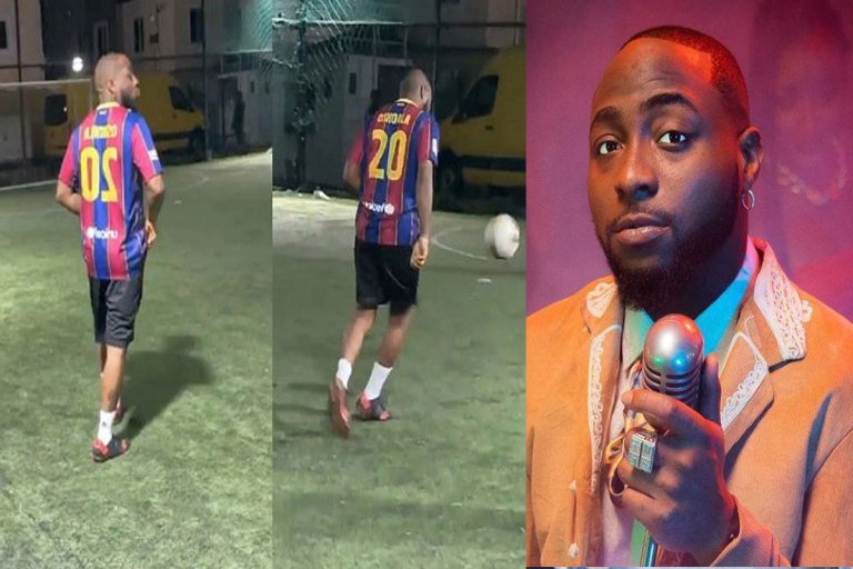 Davido Displays His Football Skill