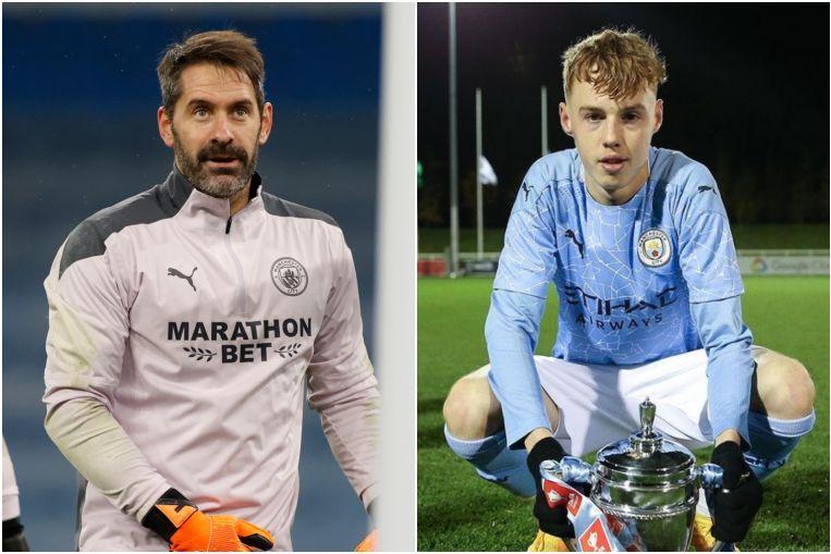 Manchester City reserve goalkeeper Scott Carson midfielder Cole Palmer