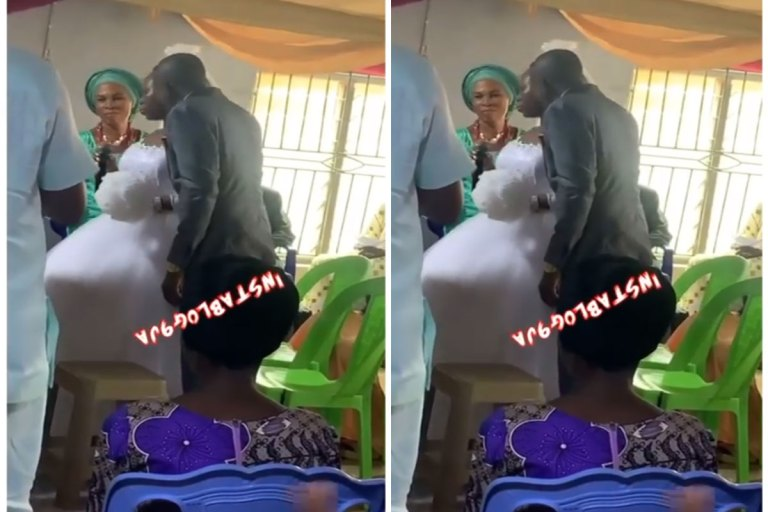 Drama As Bride Refuses To Kiss Her Groom At Their White Wedding VIDEO