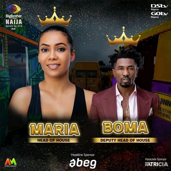 Maria Head Of House and Boma BBNaija as deputy