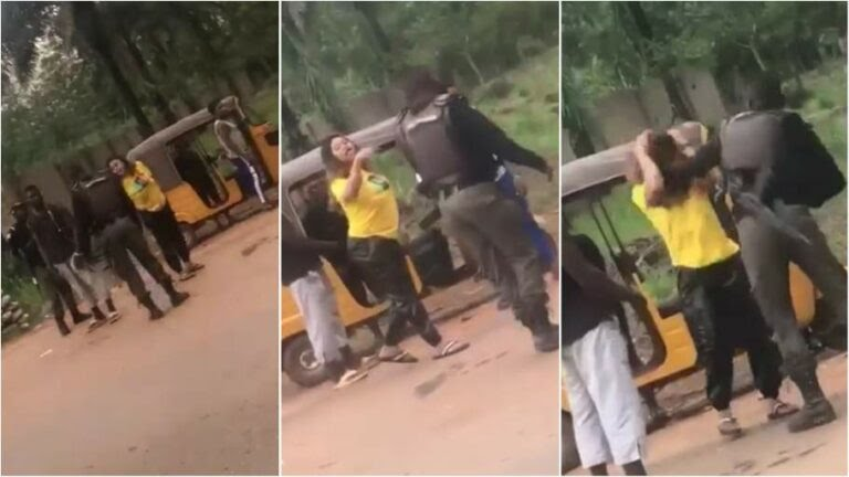 Enugu Police officer 'beats up young lady