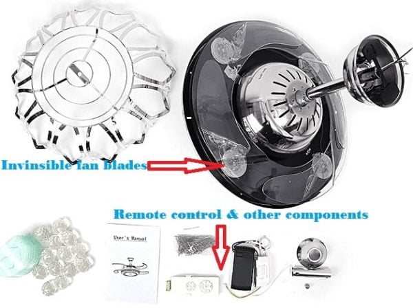 Modern Ceiling Fan with Remote Control, Light, Invisible LED Fan Lamps