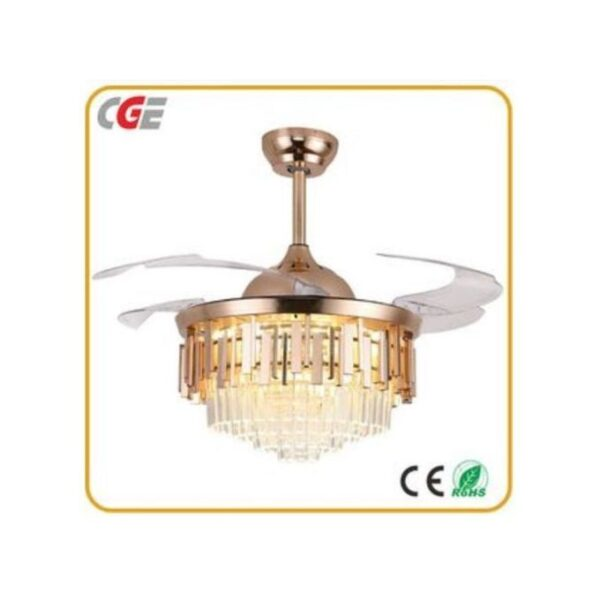 42 inches Fan 3 In 1 Crystal LED Chandelier With Retractable Modern Invisible Quiet Folding Blade