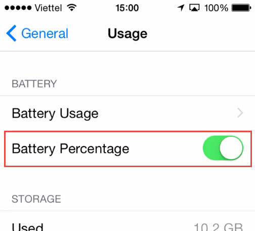 Battery Percentage trên iPhone