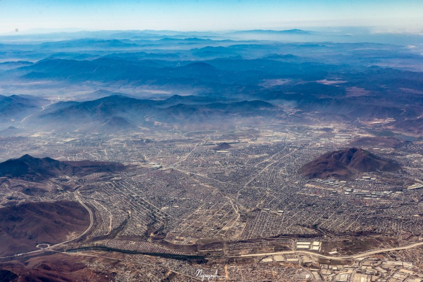 Tijuana, Mexico from an airplane